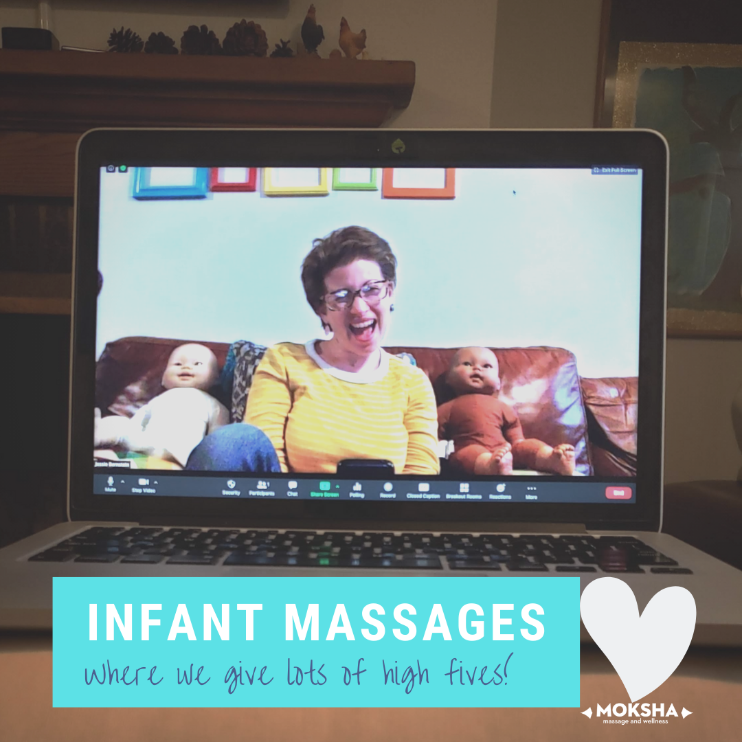 Image of Jessie with a baby doll on each side of her on her laptop screen with the text below: Infant Massages, where we give lots of high fives!