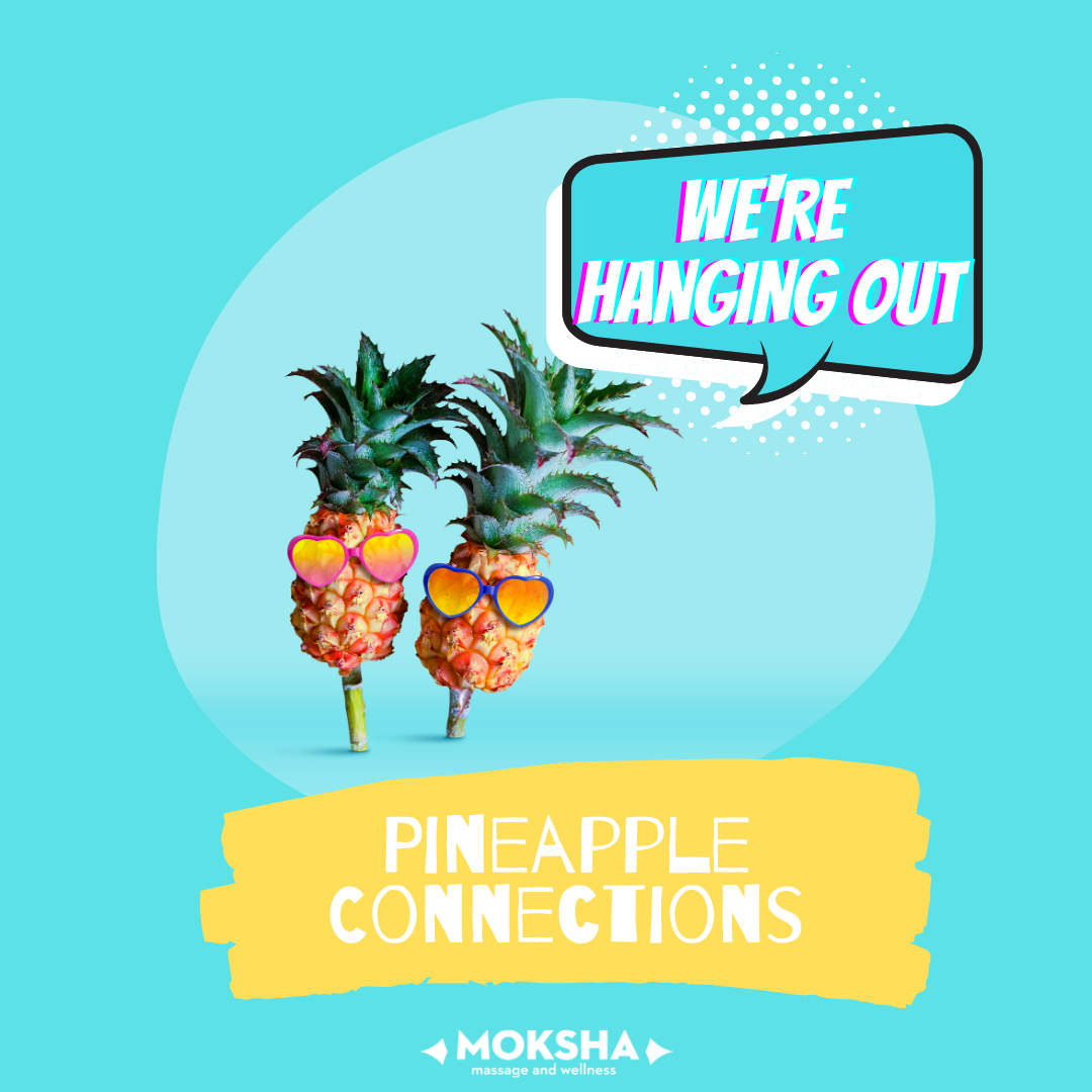 Text bubble with text: We're Hanging Out above 2 pineapples with sunglasses and text below: Pineapple Connections