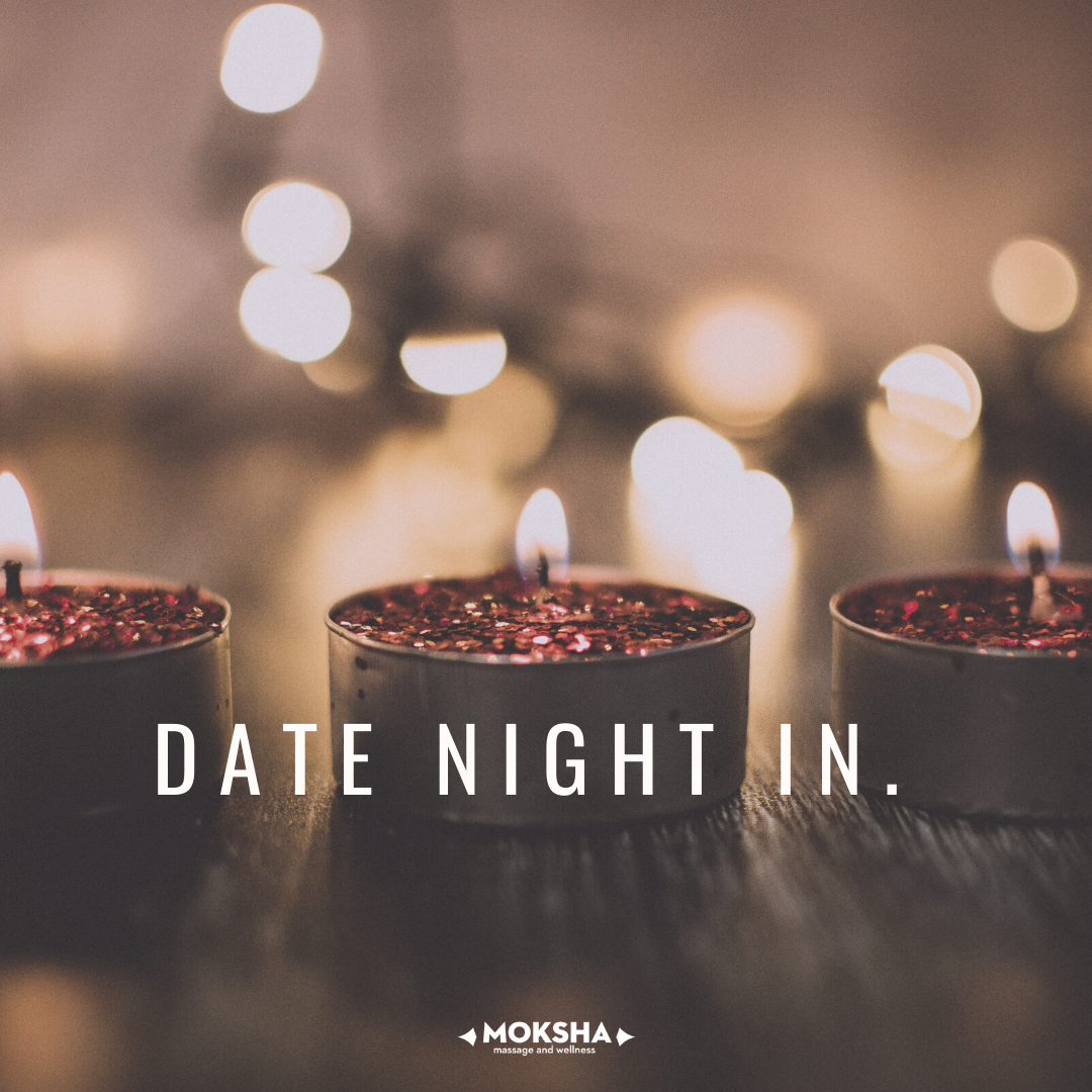 tea lights lit with text: Date Night In