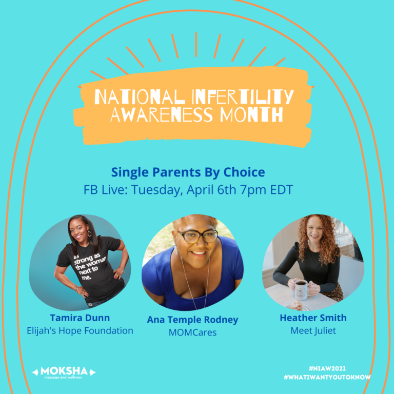 National Infertility Awareness Month: Single Parents By Choice. FB Live: Tuesday, April 6th, 7pm EDT. Images left to Right: Tamira Dunn, Elijah's Hope Foundation, Ana Temple Rodney, Mom Cares, Heather Smith, Meet Juliet. #NIAW2021 @WhatIWantYoutoKnow