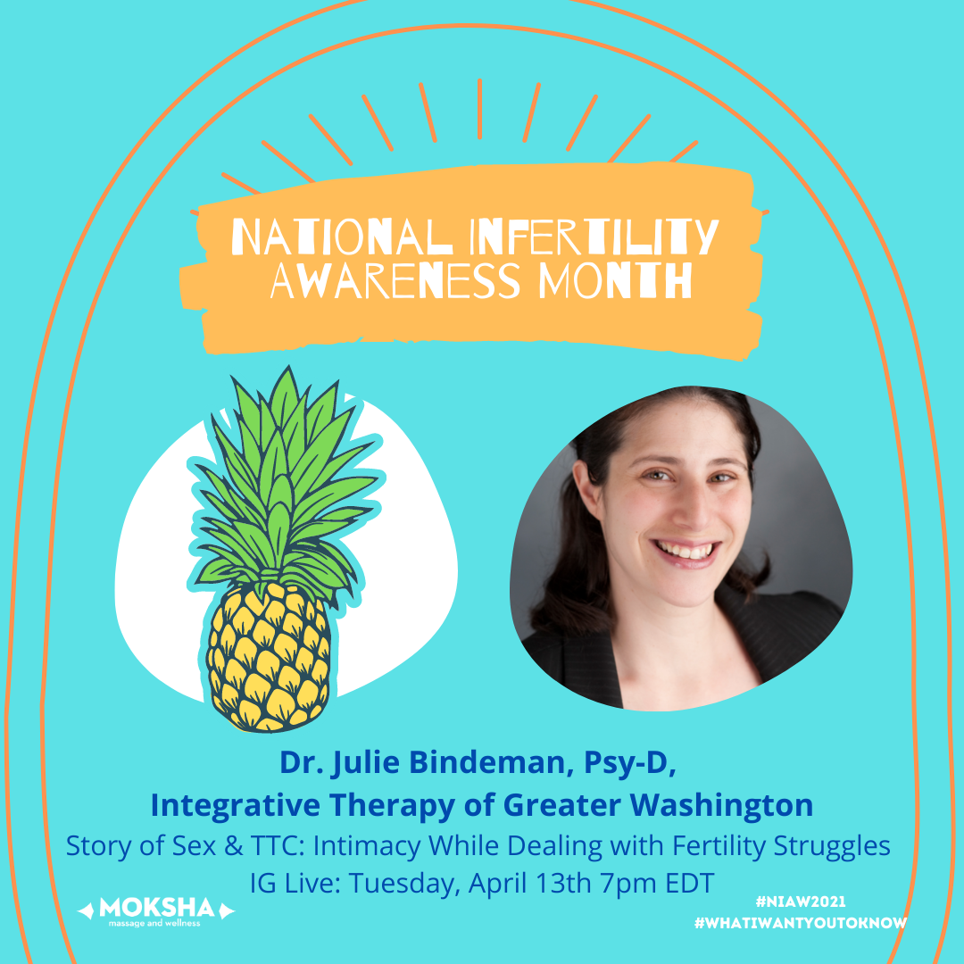 national Infertility Awareness Month: Dr. Julie Bindeman, Psy-D, Integrative Therapy of Greater Washington. Story of Sex & TTC: Intimacy While Dealing With Fertility Struggles. IG Live: Tuesday, April 13th 7pm EDT. #NIAW2021 @WhatIWantYouToKnow