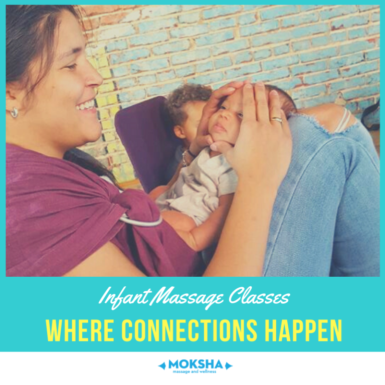ID: Smiling Parent with their hands on infant's face. Text below: Infant Massage Classes, Where Connections Happen