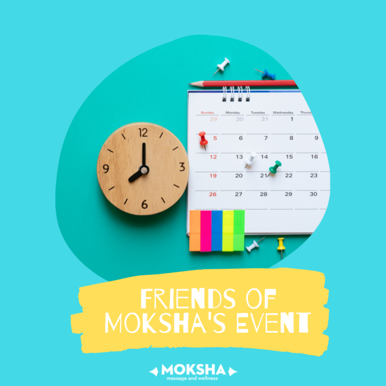 ID: wooden clock at 8 with a calendar to the right with thumbtacks on dates and post-it note strips in 5 colors hanging from the bottom. Text below: Friends of Moksha's Event
